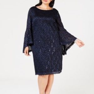 New Jessica Howard Sequin Lace Bell Sleeve Dress
